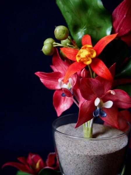 Rückseite Orchideen-Gesteck