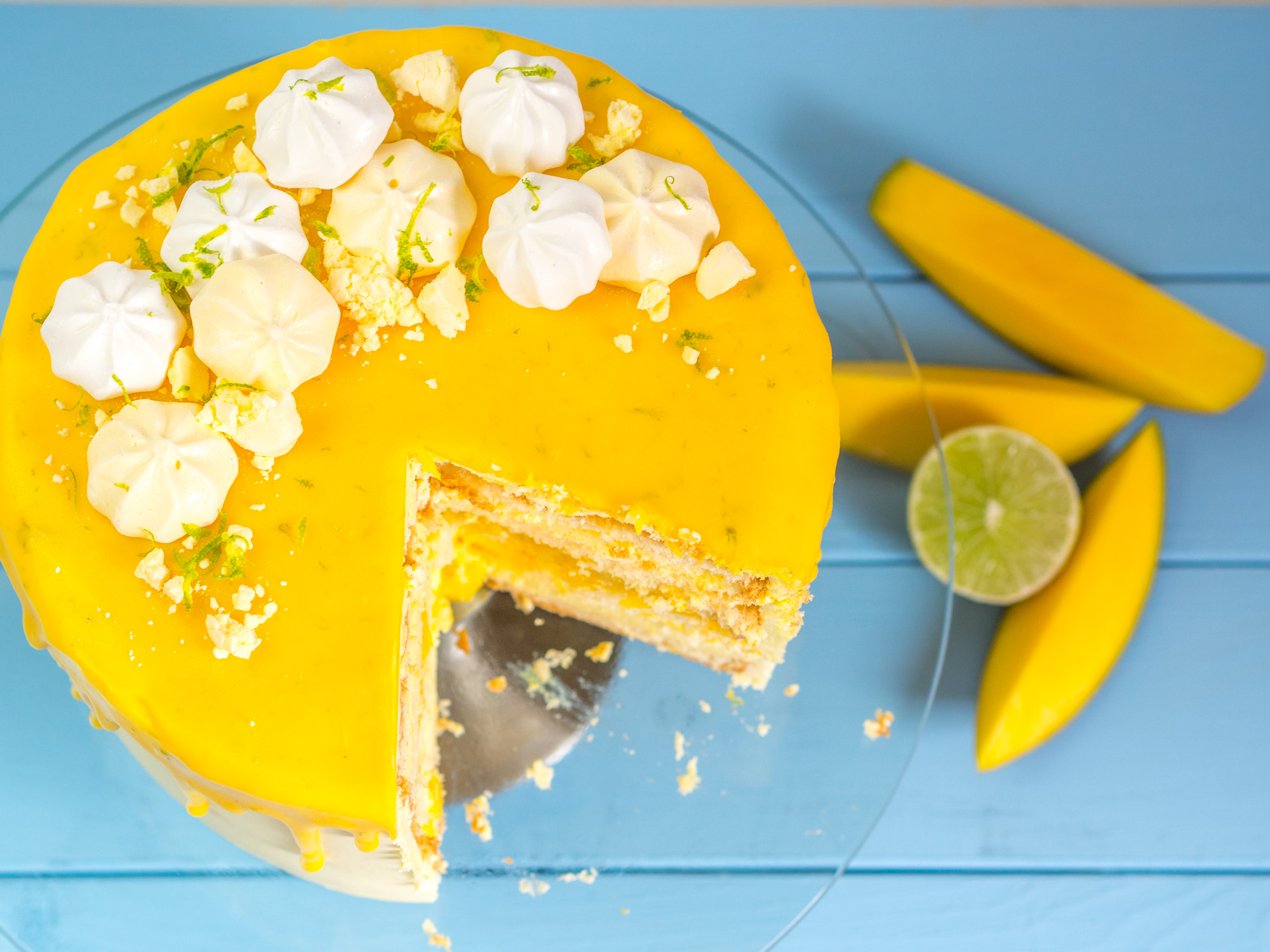Sommerliche Limetten Mango Torte Mit Mangocreme Und Vanille