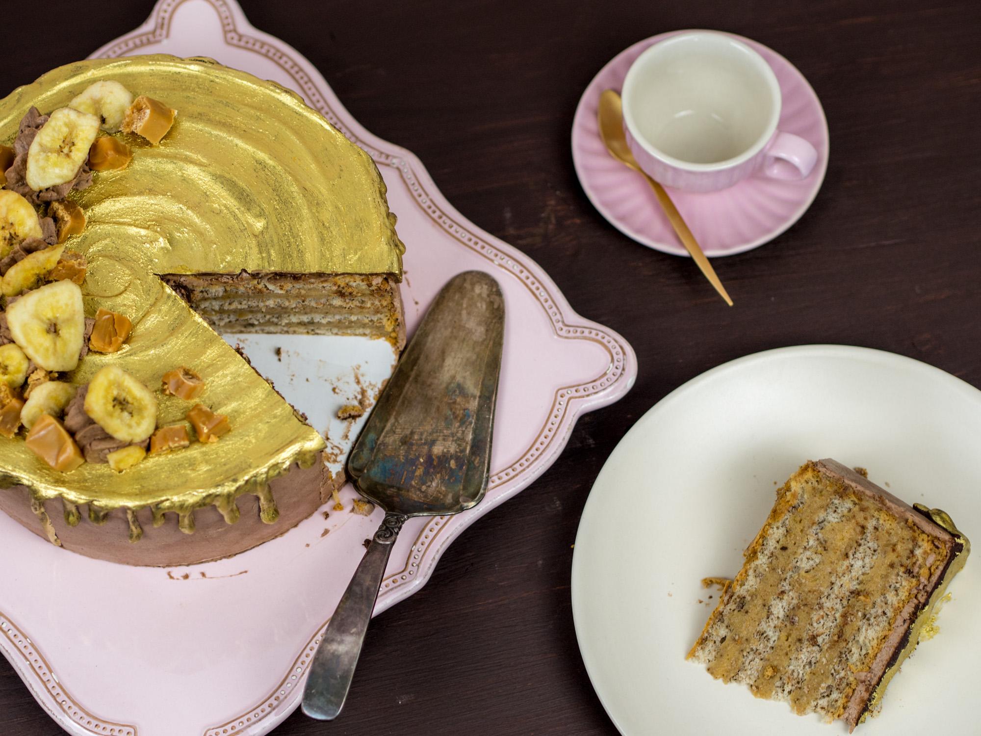 Golden Banoffee Cake Bananen Karamell Torte Rezept