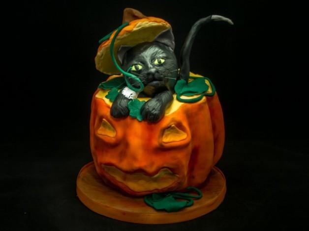 Halloween-Torte: Eine Katze im Kürbis {Video}