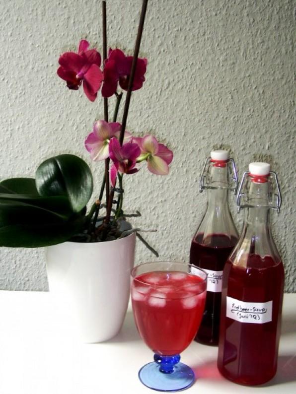 Himbeersirup und Erdbeersirup