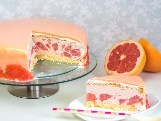 Grapefruittorte mit Mirror Glaze