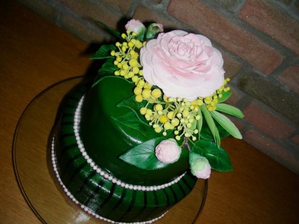 Geburtstagstorte mit Kamelien und Mimosen