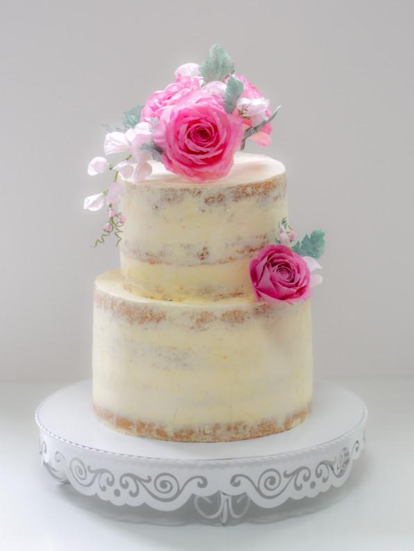 Semi Naked Cake mit Wafer Paper Blumen