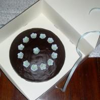 Schoko-Vanille-Kuchen mit Zuckerblümchen