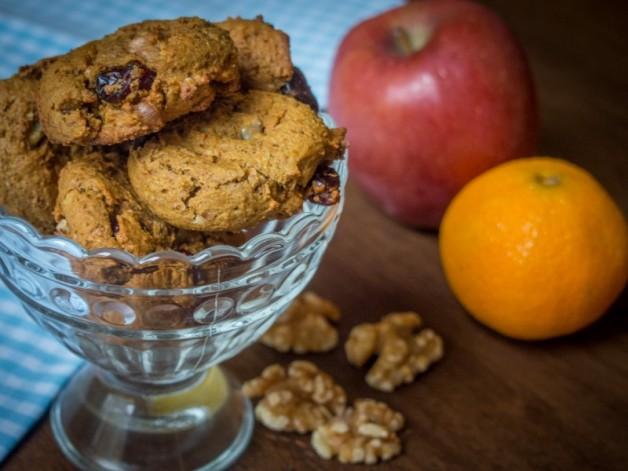 Kürbis Cookies mit Walnüssen und Cranberries