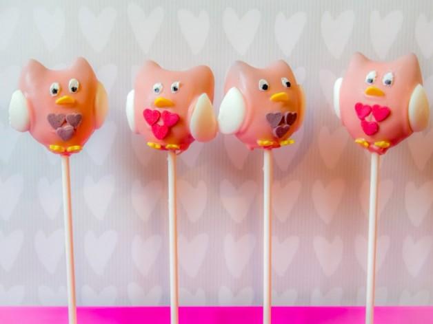 Eulen Cake Pops zum Valentinstag